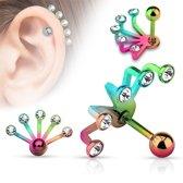Helix piercing 5 steentjes regenboog kleuren ©LMPiercings