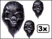 3x Masker doodshoofd aap harig