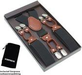 Luxe chique bretels - Donkergrijs effen dessin - Sorprese - midden bruin leer - 6 stevige clips - heren - unisex
