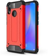 Let op type!! Diamond Armor PC + TPU warmtedissipatie beschermende case voor Huawei Nova 3i (rood)