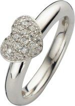 Silventi 943283630 58 Zilveren Ring - met Zirkonia - Pavé Hart - Zilverkleurig