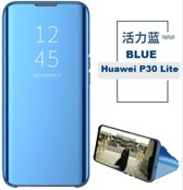 Clear View Mirror Stand Cover + 3D Full Cover 9H Tempered Glass Screenprotector voor de Huawei P30 Lite _ Blauw