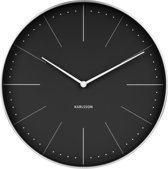 Wall clock Normann station black, brushed case