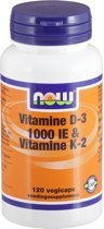 NOW Vitamine D3 1000 IE en Vitamine K2 45 mcg 120 vegicaps