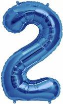 Folie Ballon Cijfer 2 Blauw 100cm - leeg