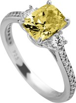 Diamonfire - Zilveren ring met steen Maat 19.5 - Solitaire - Iconic Yellow - Gele steen