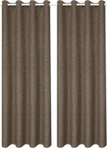 Gordijnen linnen-look verduisterend 140x245 cm bruin 2 st