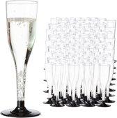 relaxdays 144 x wegwerp champagneglas - plastic champagneglazen - doorzichtig