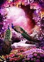 Diamond painting pakket - Pauwen in een rose gekleurd bos 50X70