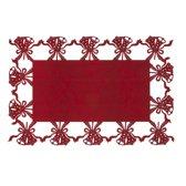Clayre & Eef Kerst Placemat - Kerstklokken - 4 stuks - Rood - wol - 45 x 30 cm