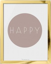 Bloomingville - Tekstbord - 'Happy' - W20xH25 cm - Goud Finish
