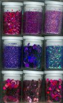 Glitter Assorti Set - 9x Purple - Afwasbaar