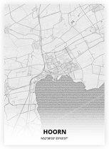 Hoorn plattegrond - A3 poster - Tekening stijl