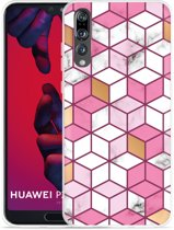 Huawei P20 Pro Hoesje Pink-gold-white Marble