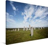 De historische Calanais Standing Stones in Schotland Canvas 140x90 cm - Foto print op Canvas schilderij (Wanddecoratie woonkamer / slaapkamer)
