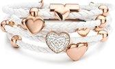 Silventi 980101024 Leren armband - met stalen elementen - Wit en Rosékleurig