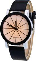 Fako® - Horloge - Black Ivory Quartz - Ø 40mm - Zwart & Crème