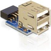 DeLOCK 1 x 9-pin 2.54 mm/2 x USB 2.0-A Zwart, Blauw, Zilver
