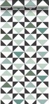 ESTAhome behang grafische driehoeken wit, zwart, mintgroen en