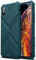 Teleplus iPhone XS Case Defense Impact Protected Tank Silicone Green + Nano Screen Protector hoesje