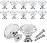 Kastgrepen 10 Delig - Kristalvormige Kastknoppen - Kastdeurknoppen Set Inclusief Schroeven - Deurknoppen - Keukenkast Grepen - Ladeknop - Ladegreep