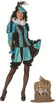 Zwarte Piet Kostuum   Aqua Gestreepte Piet Dames   Vrouw   Maat 38   Sinterklaas   Verkleedkleding