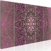 Schilderij - Roze Mandala , roze , 5 luik