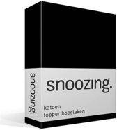 Snoozing - Katoen - Topper - Hoeslaken - Lits-jumeaux - 180x210 cm - Zwart