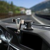 Universele zwaartekracht Telefoon Houder / gravity houder voor in de Auto met zuignap en verstelbare arm – Aluminium & met handig zwaartekracht kliksysteem – Goud kleurig