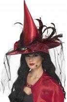 Halloween Rode heksen hoed met veren