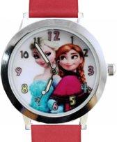 Kinder- Horloge- Frozen- Rood- Echt leer- Gratis Batterij