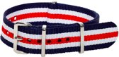 Premium Navy Blue Red White - Nato strap 22mm - Stripe - Horlogeband Blauw Rood Wit + Luxe pouch
