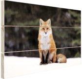 Rode vos in de sneeuw Hout 120x80 cm - Foto print op Hout (Wanddecoratie)