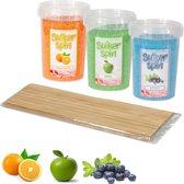 Suikerspinsuiker fruitmix 3, 3 x pot  450 gram incl. ± 100 stokjes
