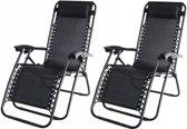 Garden Market Place Ligstoelen set van 2 - Textoline - Verstelbaar - Zwart