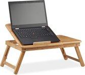 relaxdays laptoptafel hoogte verstelbaar - bamboe notebookstandaard - bedtafel kantelbaar