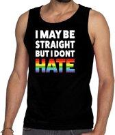 I may be straight but i don't hate tanktop/mouwloos shirt  - zwart regenboog singlet voor heren - gay pride S