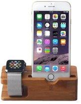 Houten Apple watch en iPhone houder - Bamboe