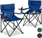 relaxdays - camping stoel 2 stuks met kussen en bekerhouder - opklapbaar - stoel - Zwart