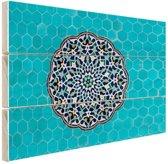 Turkooise mozaiek Midden-Oosten Hout 160x120 cm - Foto print op Hout (Wanddecoratie) XXL / Groot formaat!