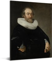 Portret van Andries Bicker - Schilderij van Bartholomeus van der Helst Aluminium 120x160 cm - Foto print op Aluminium (metaal wanddecoratie) XXL / Groot formaat!