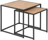 Bijzettafels Honkytonk - wild eiken set twee tafels