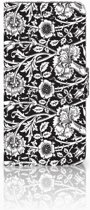 LG G7 Thinq Uniek Boekhoesje Black Flowers