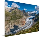 De Aletschgletsjer bij de Zwitserse Alpen Canvas 120x80 cm - Foto print op Canvas schilderij (Wanddecoratie woonkamer / slaapkamer)