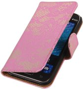 Samsung galaxy j1 2015 J100F Roze   Lace bookstyle / book case/ wallet case Hoes    WN™