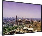 Foto in lijst - Paarse lucht boven de Egyptische stad Caïro fotolijst zwart 60x40 cm - Poster in lijst (Wanddecoratie woonkamer / slaapkamer)