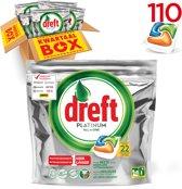Dreft Platinum Sinaasappel Kwartaalbox - 5x22 Stuks - Vaatwastabletten