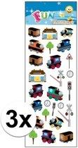 3x Stickervel treinen - 24 stickers per vel