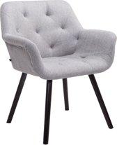 Clp Luxueuze bezoekersstoel CASSIDY club stoel, beklede eetkamerstoel met armleuning, belastbaar tot 150 kg - grijs houten onderstel kleur coffee