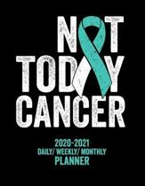Not Today Cervical Cancer: 2020 -2021 Daily/ Weekly/ Monthly Planner: 2-Year Personal Planner with Grid Calendar Teal & White Awareness Ribbon Tr